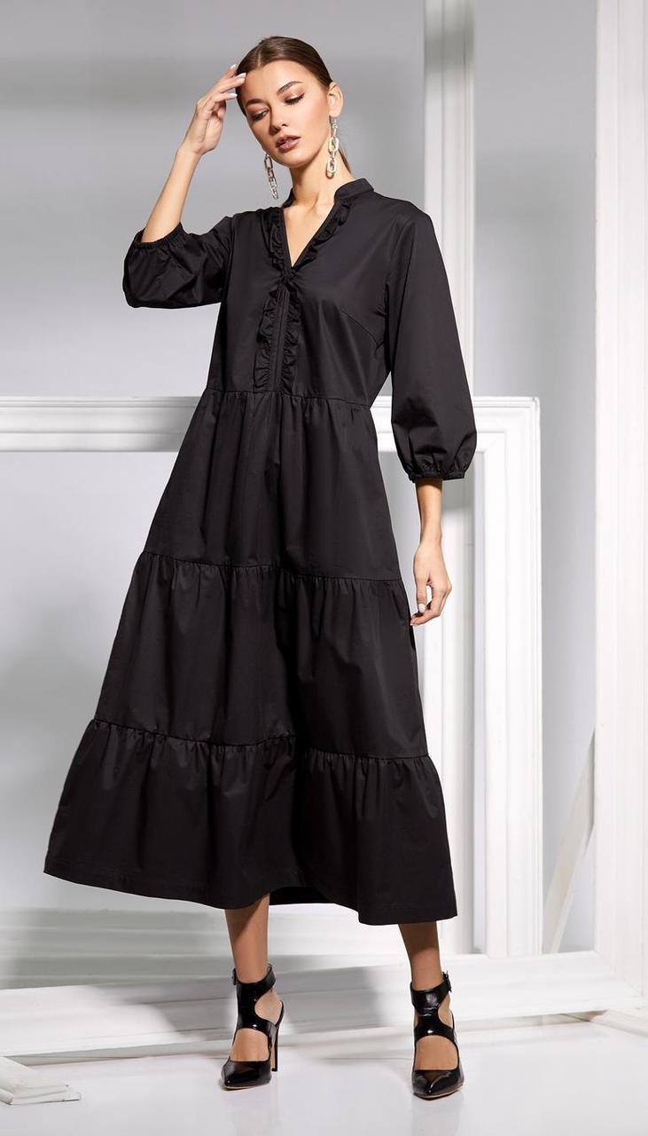 Платье Kaloris-1658 белорусский трикотаж, черный, 42