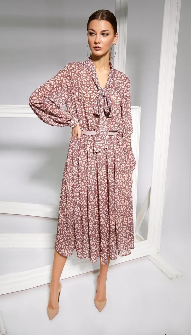 Платье Kaloris-1664 белорусский трикотаж, розовый , 42