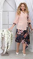 Платье Ninele-5821 белорусский трикотаж, пудра + цветы, 48