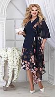 Платье Ninele-5821/1 белорусский трикотаж, синий + цветы, 48