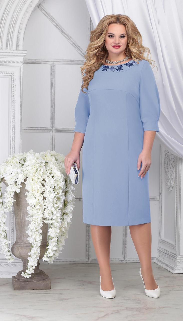 Платье Ninele-7309 белорусский трикотаж, голубой, 54