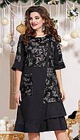 Сукня Vittoria Queen-13353 білоруський трикотаж, чорний, 52, фото 1