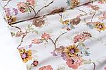 Лоскут ткани Duck с коричневыми и жёлтыми цветами на тонких коричневых ветках, размер 40*90 см, фото 2