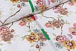 Лоскут ткани Duck с коричневыми и жёлтыми цветами на тонких коричневых ветках, размер 40*90 см, фото 3