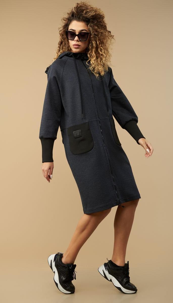 Платье Сч@стье-7152б белорусский трикотаж, темно - серый, 56