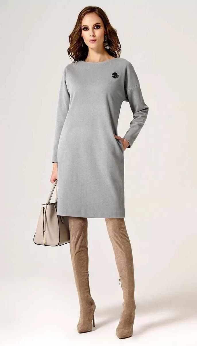 Сукня Пріоритет-24480z/2 білоруський трикотаж, сірий, 42
