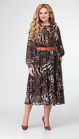 Платье Swallow-341 белорусский трикотаж, принт «леопард», 48, фото 1