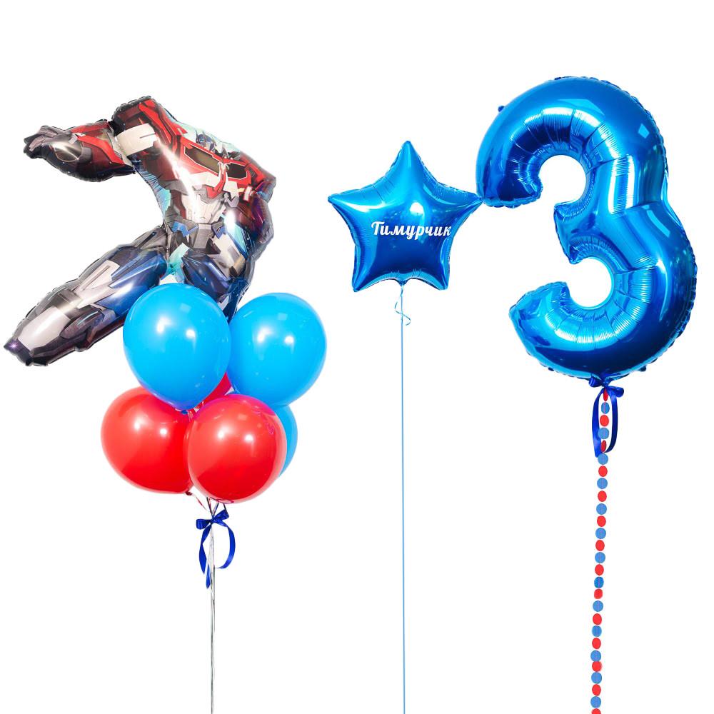 Оформлення в стилі Трансформери з фігурою Оптімус Прайм і синьою цифрою