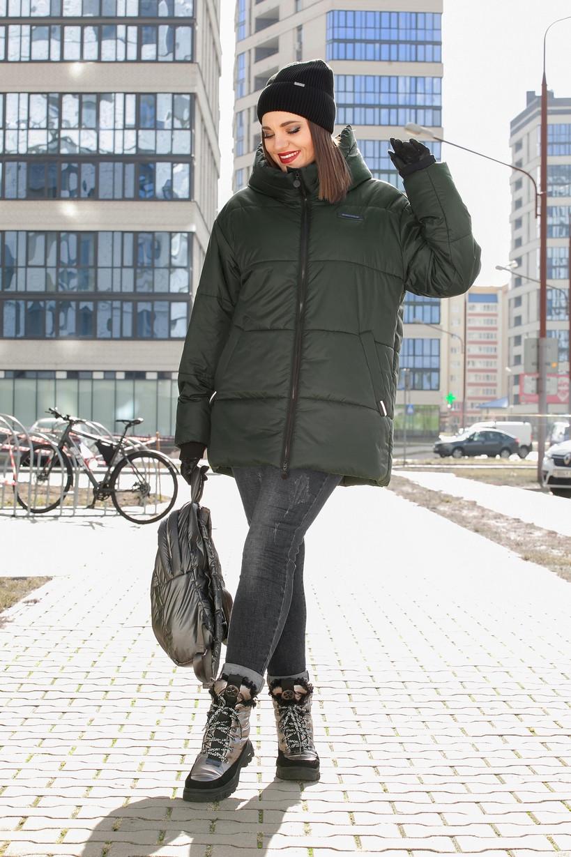 Куртка Lady Secret-7274/2 белорусский трикотаж, темный хаки, 54