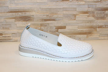 Туфли женские белые натуральная кожа Т1303