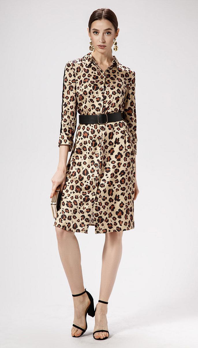 Платье Panda-468880/1 белорусский трикотаж, светло-бежевый леопард, 42