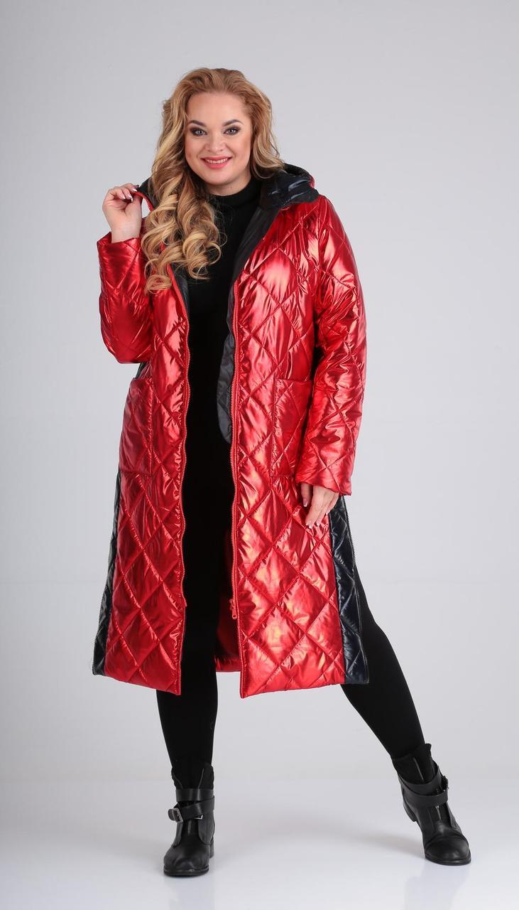 Пальто Диамант-1603/1 белорусский трикотаж, красный, 44