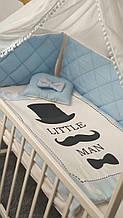 """Комплект сменного постельного белья Стеганка. """"Little man"""" балдахин, одеяло, подушка, бортики-защита и тд. Т"""