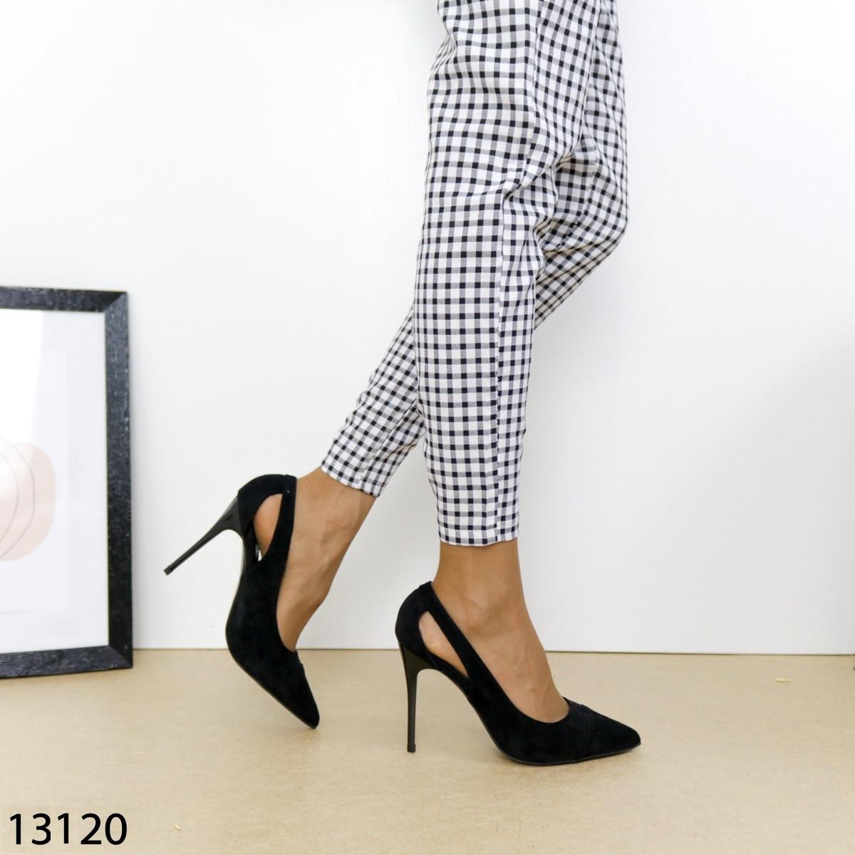 Черные замшевые туфли на устойчивом каблуке 13120 (SH)