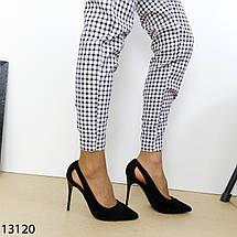 Черные замшевые туфли на устойчивом каблуке 13120 (SH), фото 2