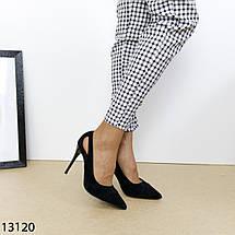 Черные замшевые туфли на устойчивом каблуке 13120 (SH), фото 3