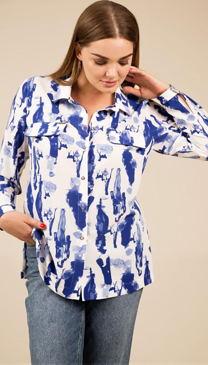 Блузка TEFFI style-1426 белорусский трикотаж, синий + белый, 50