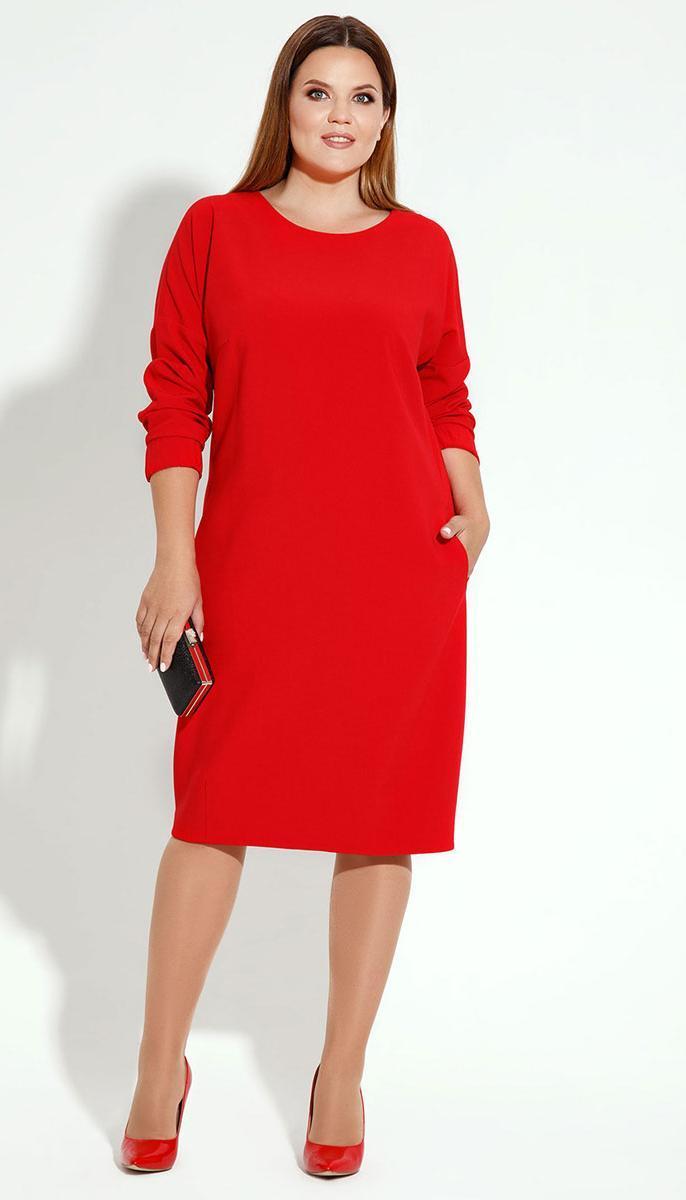 Платье Prio-13880z/1 белорусский трикотаж, красный, 52