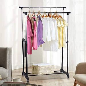 Вешалка стойка для одежды универсальная двойная телескопическая напольная  на колесиках Double Pole Clothersra