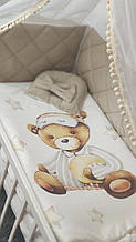 """Комплект сменного постельного белья Стеганка. """"Мишка бежевый"""" балдахин, одеяло, подушка, бортики-защита и тд Т"""