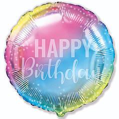 "Круг 18"" FLEXMETAL-ФМ Happy Birthday - градиент"
