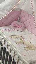 """Комплект сменного постельного белья Стеганка. """"Мишка розовый"""" балдахин, одеяло, подушка, бортики-защита и тд Т"""