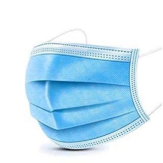 Маска защитная одноразовая голубая (3-х слойная спанбонд) 50 шт / уп