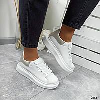 Женские кроссовки белые с серой пяткой M_Q