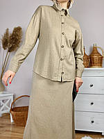 Блуза бежевая с длинным рукавом женская из льна размер S (TSH1x6)