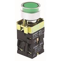 Кнопка NP2-BW3365 (1NO+1NC) 230V LED зелёная мет. СНІNT