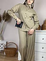 Рубашка бежевая с длинным рукавом женская из льна размер M (TSH1x6)
