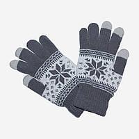 Зимние перчатки для сенсорных телефонов Touch Gloves Серые с орнаментом