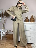 Женская рубашка бежевая с длинным рукавом из льна размер L (TSH1x6)