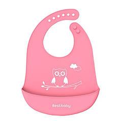 Дитячий Нагрудник Bestbaby BS-8807 Сова Pink слюнявчик силіконовий з кишенею для малюків