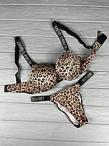 Нижня білизна Victoria's Secret Model Rhinestone зі стразами леопардовий принт. Комплект Вікторія Сікрет, фото 2