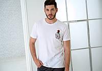 Мужская белая футболка, карман с розой