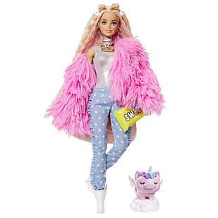 Лялька Барбі Екстра Стильна Модниця Barbie Extra Doll 3 in Pink Fluffy Coat