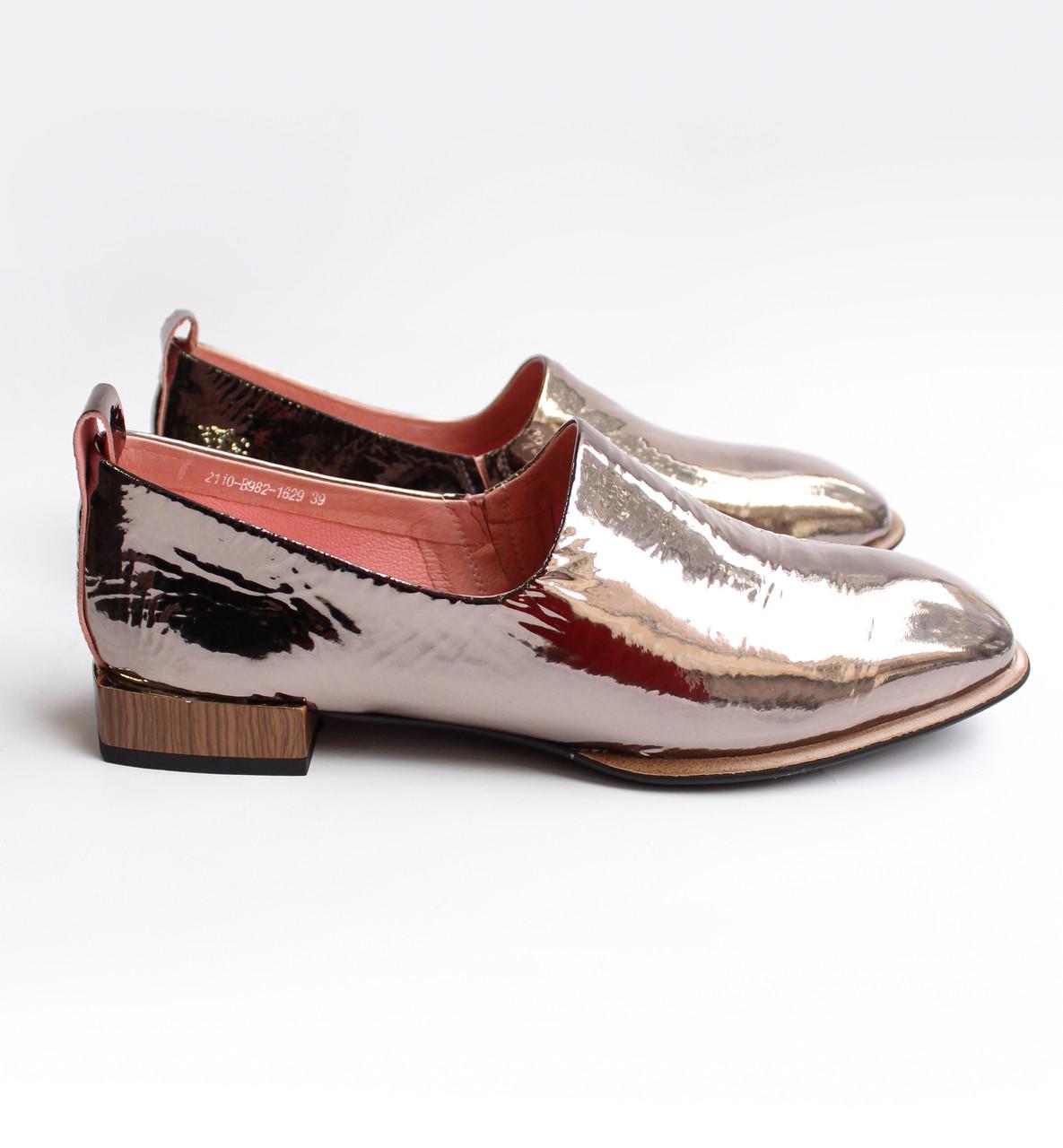 Жіночі шкіряні туфлі золотисті
