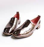 Жіночі шкіряні туфлі золотисті, фото 3