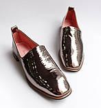 Жіночі шкіряні туфлі золотисті, фото 7