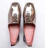 Жіночі шкіряні туфлі золотисті, фото 4