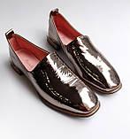 Жіночі шкіряні туфлі золотисті, фото 5