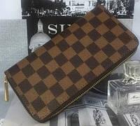 Женский кошелек на молнии ультрамодный коричневый в клеточку клатч барсетка эко кожа размер 19х10см, фото 1