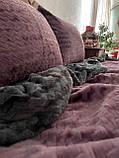 Велюровий Комплект постільної білизни двосторонній Хвиля Сливово - Сірий, фото 3