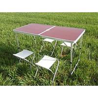 Стол складной туристический + 4 стула размер120Х60Х70 см цвета в ассортименте