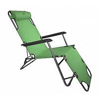 Кресло шезлонг раскладное Bonro 160 см Садовый пляжный шезлонг лежак для сада и дома отдыха на природе Зеленый