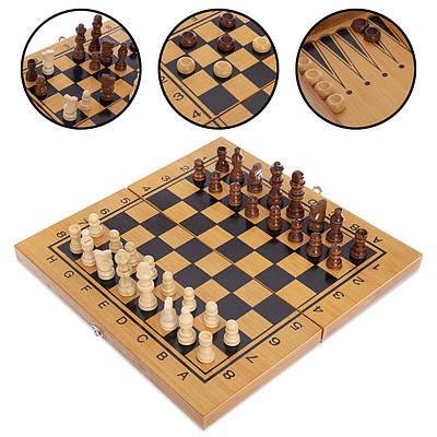 Шахматы, шашки, нарды 3 в 1 бамбуковые 341-161 30x30см (MR09031)