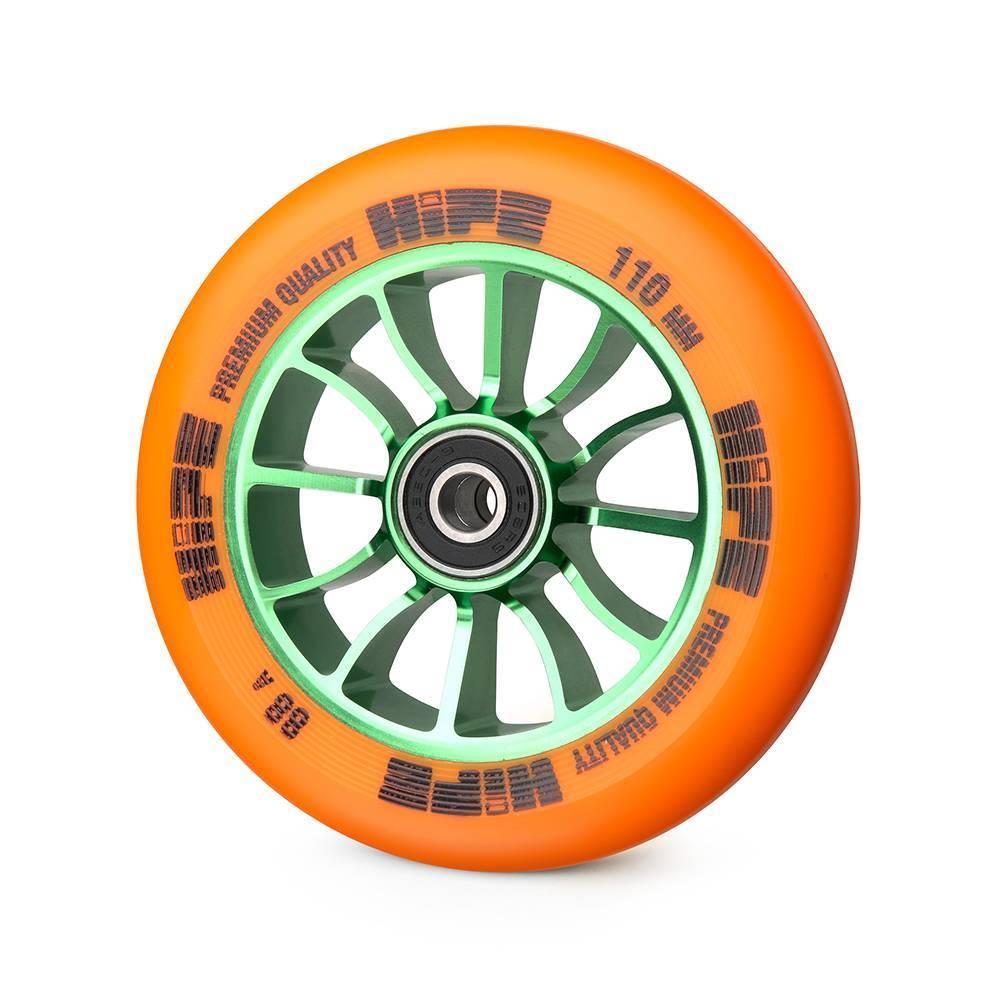 Колесо для трюкового самоката Hipe H01 110мм, green/orange