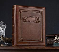 """Родовід книга в шкіряній обкладинці з кільцевим механізмом """"Грифони"""". Колір коричневий"""