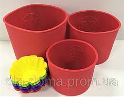 Набор силиконовых форм для выпекания куличей 3 шт.